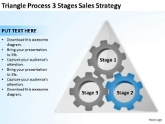 Triangle Process 3 Stages Sales Strategy Ppt Business Plan Outline Template PowerPoint Slides