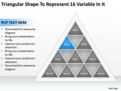 Triangular Shape To Represent 16 Variable In It Ppt Business Plans PowerPoint Templates