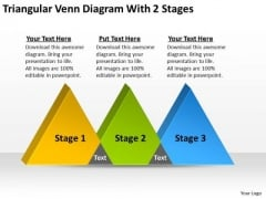 Triangular Venn Diagram With 2 Stages Making Business Plan PowerPoint Templates