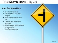 Turn Road Highways Signs 3 PowerPoint Slides And Ppt Diagram Templates
