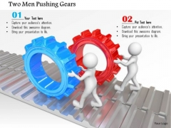 Two Men Pushing Gears PowerPoint Templates