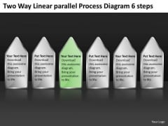 Two Way Linear Parallel Process Diagram 6 Steps How To Business Plan PowerPoint Templates