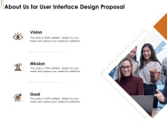 UI Software Design About Us For User Interface Design Proposal Ppt Professional Images PDF