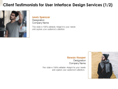 UI Software Design Client Testimonials For User Interface Design Services Ppt Pictures Styles PDF