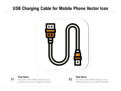 USB Charging Cable For Mobile Phone Vector Icon Ppt PowerPoint Presentation Infographic Template Templates PDF