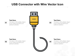 USB Connector With Wire Vector Icon Ppt PowerPoint Presentation Icon Influencers PDF