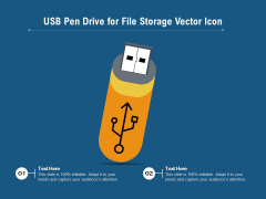 USB Pen Drive For File Storage Vector Icon Ppt PowerPoint Presentation Model Ideas PDF