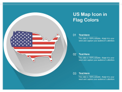 US Map Icon In Flag Colors Ppt PowerPoint Presentation Professional Graphics Template PDF