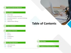 UX Design Services Proposal Table Of Contents Slides PDF