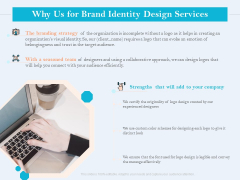 Ultimate Brand Creation Corporate Identity Why Us For Brand Identity Design Services Ppt File Templates PDF