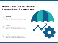 Umbrella With Gear And Arrow For Insurance Protection Vector Icon Ppt PowerPoint Presentation File Examples PDF