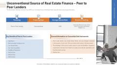 Unconventional Source Of Real Estate Finance Peer To Peer Lenders Ppt Layouts Slide Portrait PDF