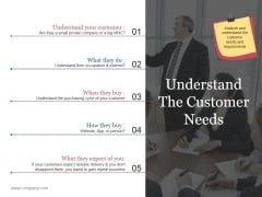 Understand The Customer Needs Template 2 Ppt PowerPoint Presentation Summary Graphics