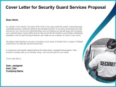 Uniformed Security Cover Letter For Security Guard Services Proposal Pictures PDF
