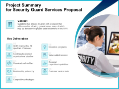 Uniformed Security Project Summary For Security Guard Services Proposal Slides PDF