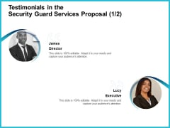 Uniformed Security Testimonials In The Security Guard Services Proposal Communication Formats PDF