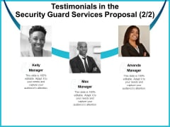 Uniformed Security Testimonials In The Security Guard Services Proposal Teamwork Clipart PDF