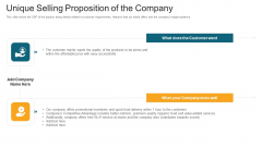 Unique Selling Proposition Of The Company Ppt Inspiration Themes PDF