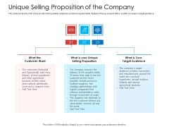 Unique Selling Proposition Of The Company Sample PDF