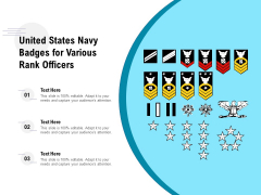 United States Navy Badges For Various Rank Officers Ppt PowerPoint Presentation Portfolio Designs PDF