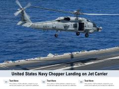 United States Navy Chopper Landing On Jet Carrier Ppt PowerPoint Presentation Summary Master Slide PDF