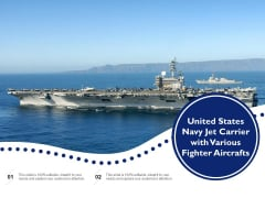United States Navy Jet Carrier With Various Fighter Aircrafts Ppt PowerPoint Presentation Portfolio Icons PDF