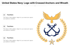 United States Navy Logo With Crossed Anchors And Wreath Ppt PowerPoint Presentation Ideas Display PDF