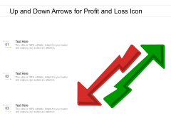 Up And Down Arrows For Profit And Loss Icon Ppt PowerPoint Presentation File Themes PDF