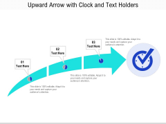 Upward Arrow With Clock And Text Holders Ppt PowerPoint Presentation Icon Pictures PDF