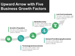 Upward Arrow With Five Business Growth Factors Ppt PowerPoint Presentation Gallery Templates