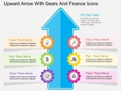 Upward Arrow With Gears And Finance Icons Powerpoint Template