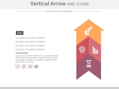 Upward Arrow With Icons For Growth Planning Powerpoint Template