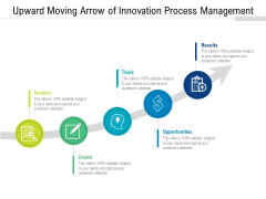 Upward Moving Arrow Of Innovation Process Management Ppt PowerPoint Presentation File Icons PDF