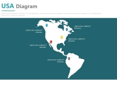 Usa Map With Various Location Pointers Powerpoint Slides