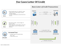 Use Cases Letter Of Credit Ppt PowerPoint Presentation Infographics Example