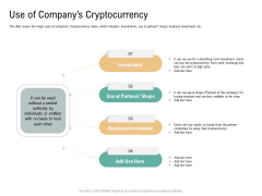 Use Of Companys Cryptocurrency Virtual Currency Financing Pitch Deck Demonstration PDF