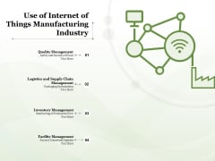 Use Of Internet Of Things Manufacturing Industry Ppt PowerPoint Presentation Ideas Themes