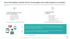 Use Of Personalized Customer Service Technologies And Loyalty Programs In Cosmetics Mockup PDF