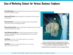 Uses Of Marketing Science For Various Business Employee Ppt PowerPoint Presentation Icon Pictures PDF