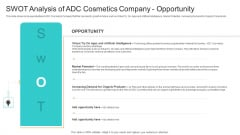 Utilization Of Current Techniques To Improve Efficiency Case Competition SWOT Analysis Of ADC Cosmetics Company Opportunity Designs PDF