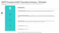 Utilization Of Current Techniques To Improve Efficiency Case Competition SWOT Analysis Of ADC Cosmetics Company Strengths Infographics PDF