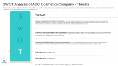 Utilization Of Current Techniques To Improve Efficiency Case Competition SWOT Analysis Of ADC Cosmetics Company Threats Elements PDF