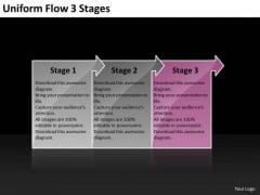 Uniform Flow 3 Stages Diagram PowerPoint Templates