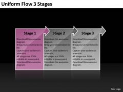 Uniform Flow 3 Stages Technical Chart PowerPoint Templates