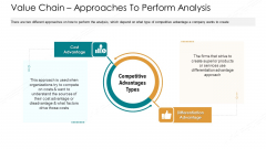 Value Chain Approaches To Perform Analysis Ppt Show Graphics PDF
