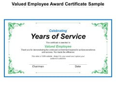 Valued Employee Award Certificate Sample Ppt PowerPoint Presentation File Master Slide