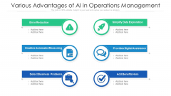 Various Advantages Of AI In Operations Management Ppt PowerPoint Presentation Gallery Design Ideas PDF