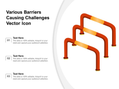 Various Barriers Causing Challenges Vector Icon Ppt PowerPoint Presentation File Slide PDF