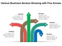 Various Business Sectors Showing With Five Arrows Ppt PowerPoint Presentation Portfolio Designs PDF