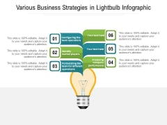 Various Business Strategies In Lightbulb Infographic Ppt PowerPoint Presentation Ideas Slideshow PDF